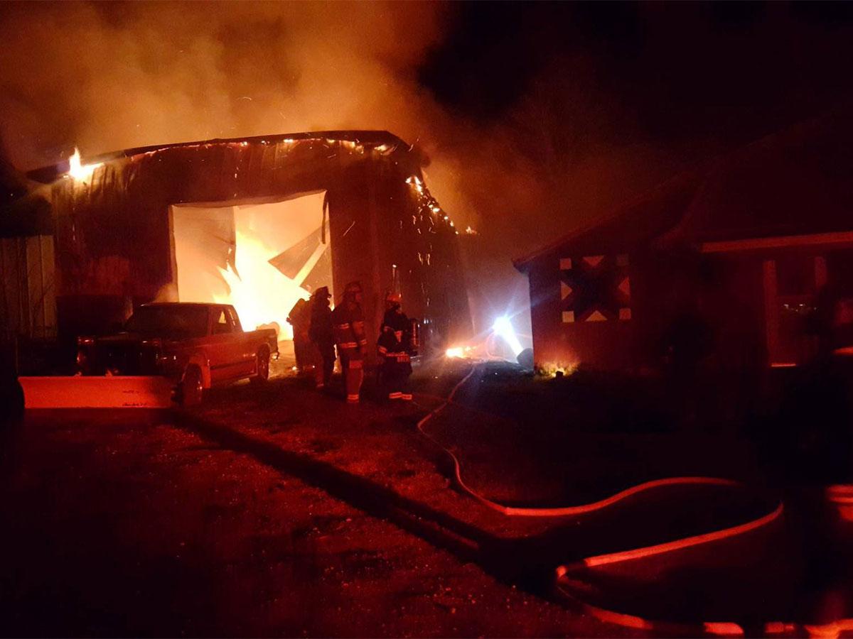 Commercial fire near Cochranton PA