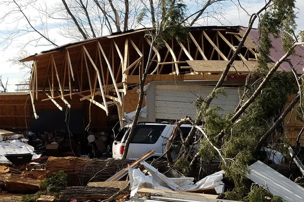 Extensive storm damage to the West family garage